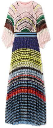 Missoni Pleated Crochet-knit Maxi Dress - Pink