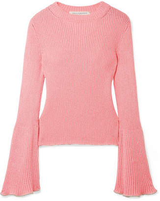 Philosophy di Lorenzo Serafini Bead-embellished Ribbed-knit Sweater - Baby pink