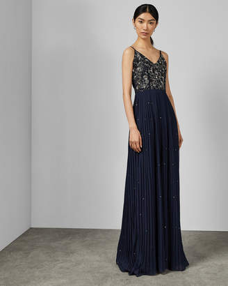 Ted Baker TAKKARA Embellished pleated maxi dress