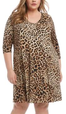 Karen Kane Plus Size Leopard-Print Shift Dress