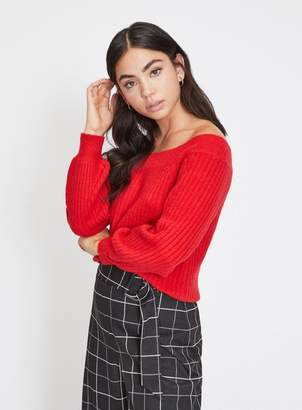 Miss Selfridge Petite red chunky bardot knitted jumper