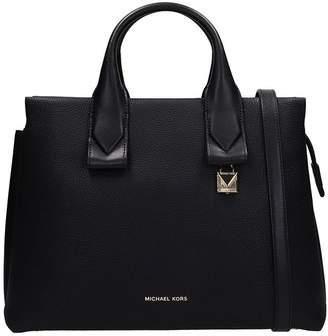 Michael Kors Sm Satchel Bag In Black Leather