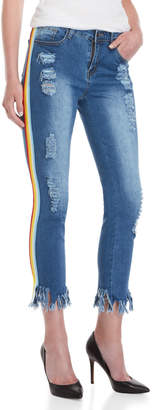 Hot & Delicious Frey Rainbow Stripe Skinny Cropped Jeans