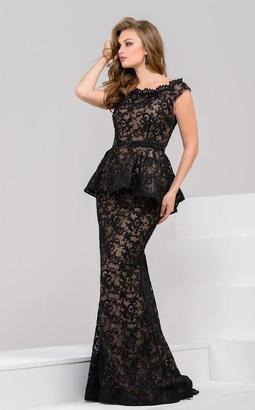Jovani - 39311 Embroidered Lace Peplum Long Gown $900 thestylecure.com