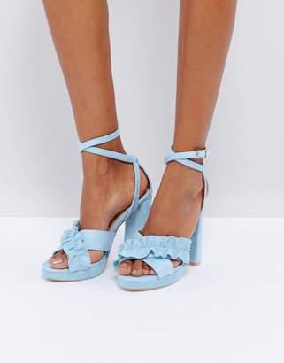 Glamorous Frill Platform Heeled Sandals