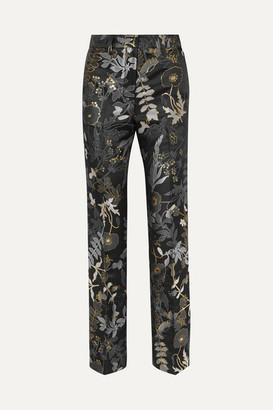 Stine Goya Kevin Floral-jacquard Straight-leg Pants - Charcoal