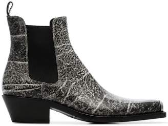 Calvin Klein Grained printed western boots
