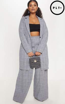 PrettyLittleThing Plus Grey Check Longline Jacket