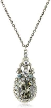 """Sorrelli Water Lily"""" Double Loop Crystal Pendant Necklace"""