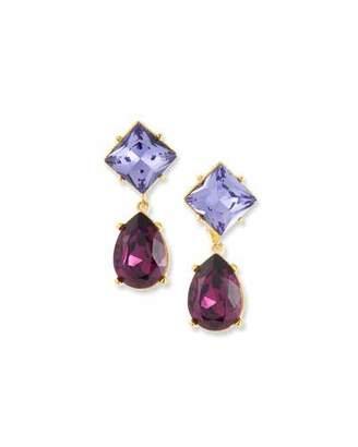 Kenneth Jay Lane Crystal Square & Teardrop Earrings, Purple