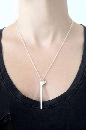 Jennifer Zeuner Jewelry Hanging Love Necklace in Silver