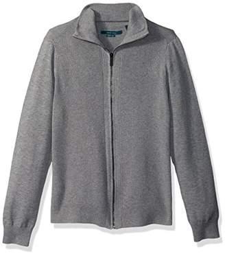 Perry Ellis Men's Solid Rib Full Zip Sweater