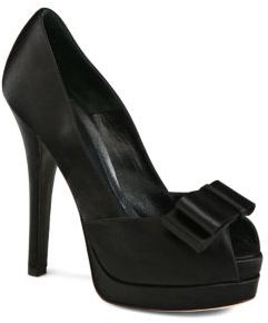 Fendi Deco Satin Bow Platform Pumps