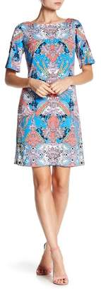 Chetta B Slit Sleeve Printed Shift Dress