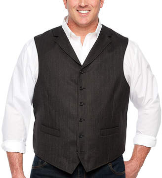 STAFFORD Stafford Merino Stretch Charcoal Herringbone Classic Fit Suit Vest - Big and Tall