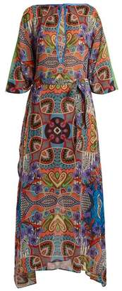 Etro Graphic Floral Print Silk Chiffon Dress - Womens - Blue Multi