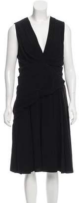 Prada Ruffle-Accented Midi Dress w/ Tags