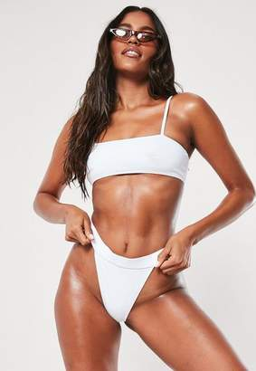 Missguided White Mix And Match Strappy Bandeau Bikini Top
