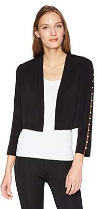Calvin Klein Women's Folded Collar Shrug Pearl Detail
