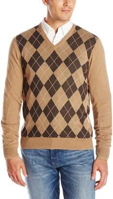 Haggar Men's Heather Argyle Pattern V-Neck Sweater