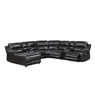 Christies Home Living William Collection 7 Piece Transitional Faux Leather Upholstered Power Curved Living Room Chaise