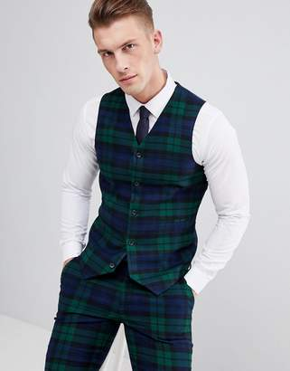 Asos Design DESIGN Wedding Super Skinny Suit Waistcoat In Blackwatch Tartan Check