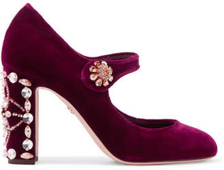 Dolce & Gabbana Crystal-embellished Velvet Mary Jane Pumps - Burgundy