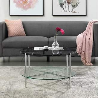Mid-Century MODERN Manor Park 32 Round Coffee Table - Black Marble Top, Glass Shelf, Chrome Legs