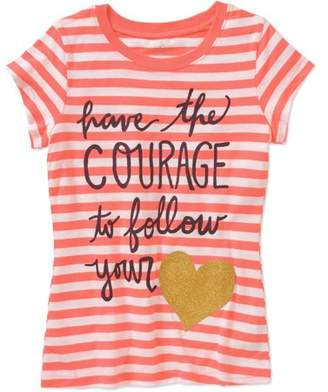 Heart Girls' Have Courage To Follow Your Short Sleeve Crew Neck Graphic T-Shirt
