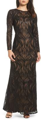 Tadashi Shoji Long Sleeve Sequined Mesh Evening Dress