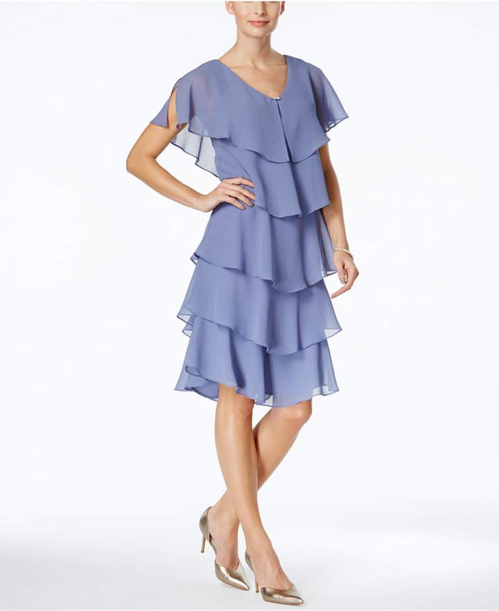 SL Fashions Tiered Rhinestone Capelet Dress 2