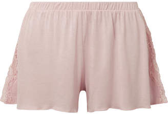 Skin - Jessie Lace-trimmed Jersey Pajama Shorts - Pastel pink