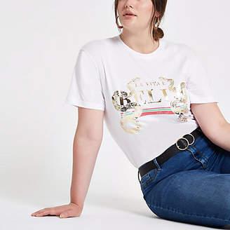 River Island Plus white snake gold foil print T-shirt