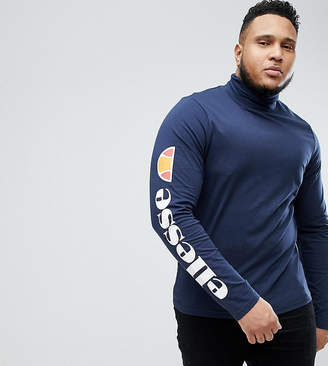 Ellesse Plus Ski Roll Neck Long Sleeve T-Shirt With Sleeve Print In Navy