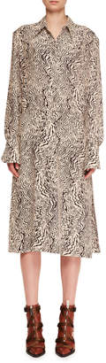 Chloé Long-Sleeve Button-Down Wave-Print Silk Crepe Shirtdress