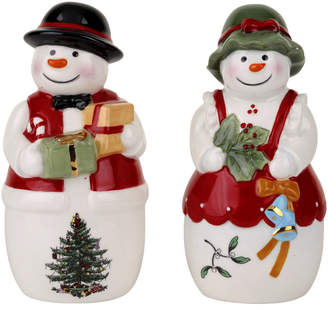 Spode Christmas Tree Figural Mr. And Mrs. Snowman Salt And Pepper Set