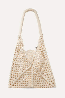 Nannacay Net Sustain Luna Leather-trimmed Crocheted Cotton Shoulder Bag - Cream