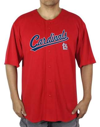 MLB St Louis Cardinals Big Men's Poly Button Down Jersey