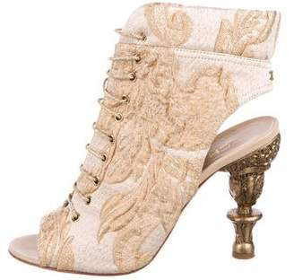 Chanel Brocade Lace-Up Ankle Boots