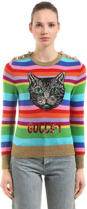 Gucci Embellished Cat Striped Crewneck Sweater