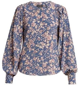 Isabel Marant Berny Floral Print Silk Blend Blouse - Womens - Blue Print