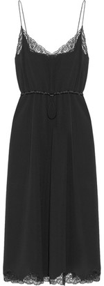 Alexander Wang - Lace And Satin-trimmed Crepe Midi Dress - Black $995 thestylecure.com