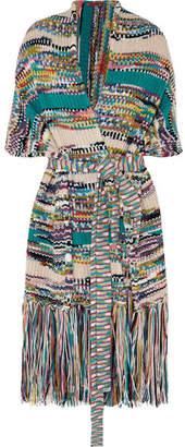 Missoni Fringed Wool-blend Wrap - Turquoise