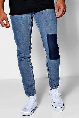 Hellblaue, schmal geschnittene Jeans aus Denim mit Flicken in Blassblau