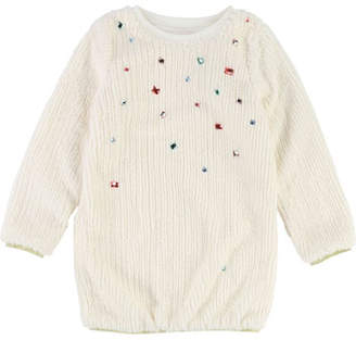 Billieblush Long-Sleeve Fuzzy Knit Dress w/ Gem Trim, Size 4-8