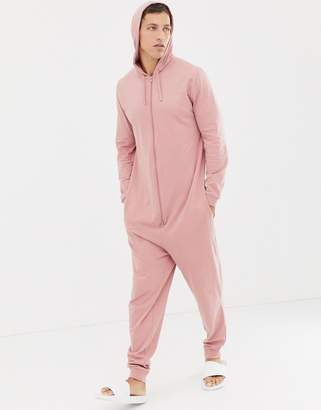Asos Design DESIGN hooded onesie in dusty pink cb105c3fb