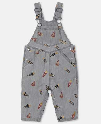 Stella McCartney Rockets Embroidery Chambray Overalls, Unisex