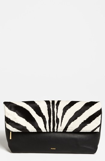 Zebra Print Calf Hair & Leather Clutch