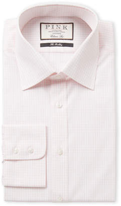 Thomas Pink Pink & White Check Print Classic Fit Dress Shirt