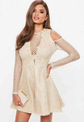 Missguided Nude Lace Cold Shoulder Embroidered Skater Dress